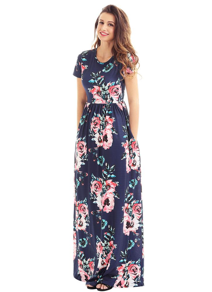 Vintage Bohemian Floral Flower Print Pocket Design Women's Maxi Dress