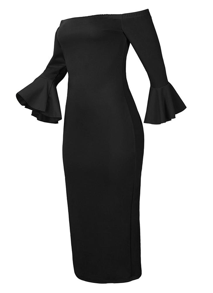 Sexy Off Shoulder Solid Flare Sleeves Party Club Midi Bodycon Dress 6da78f3f34fc