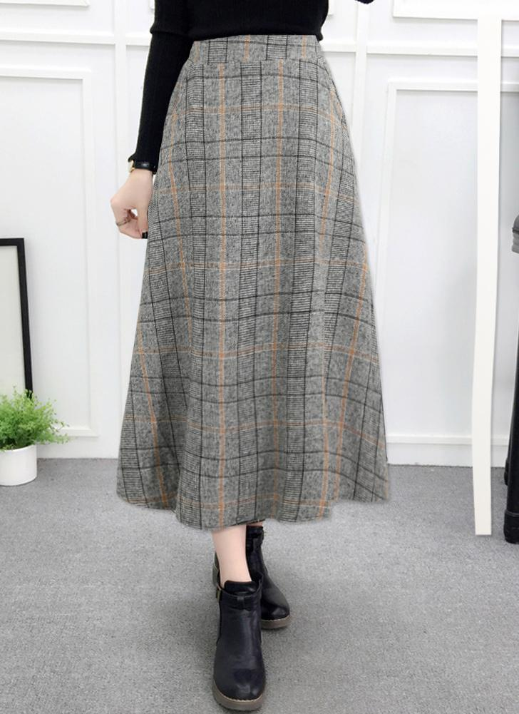 2158ff0476db20 khaki m Women Plaid Skirt Woolen High Elastic Waist Elegant A-Line Midi  Skirts - Chicuu