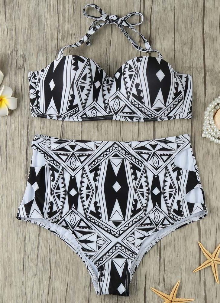 Women Bikini Set Cut Out High Waist Padded Wire Halter Retro Two Piece Swimsuit Swimwear Black
