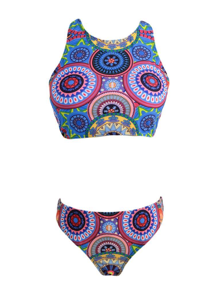 Mulheres Círculo Sexy Imprimir geométricos Triângulo Bikini Set Swimsuit acolchoado terno de banho de duas peças Swimwear azul