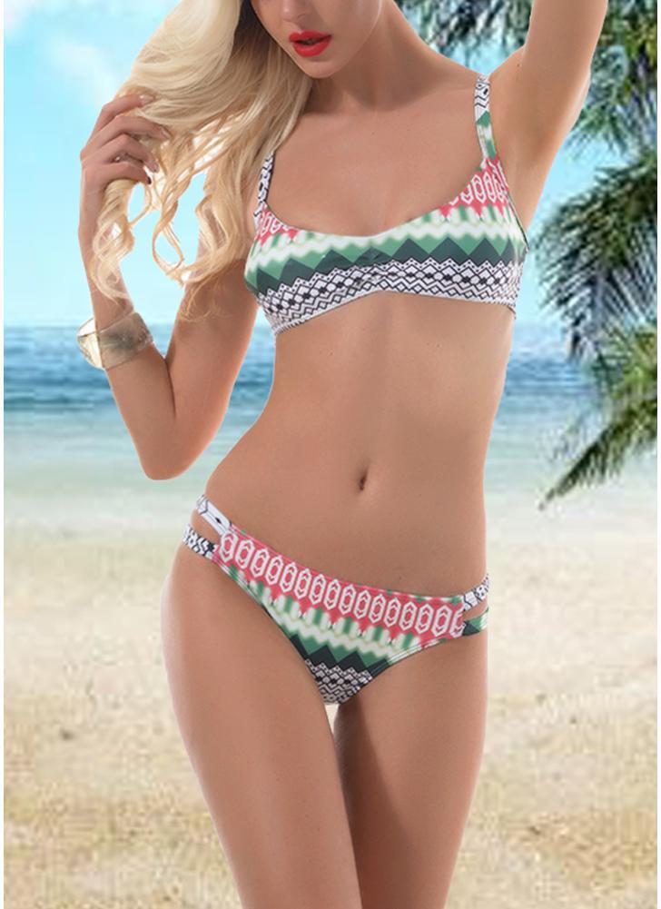 Sexy Women Geometric Print Strappy Two Piece Bikini Set