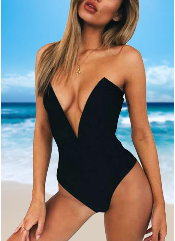 Sexy Women One Piece Bikini Monokini Swimsuits Deep V-Neck Backless Solid Swimwear Beach Wear