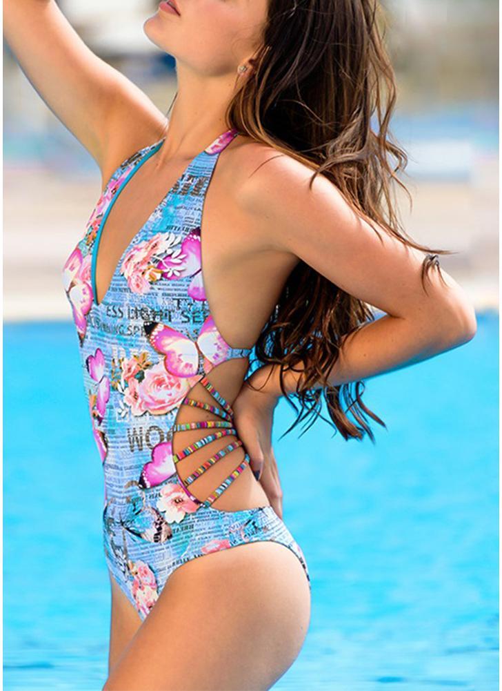 Frauen Einteiler Badeanzug Deep V Halter Blumen Buchstaben Schmetterling Print Bandage Backless Sexy Monokini Ausgeschnitten
