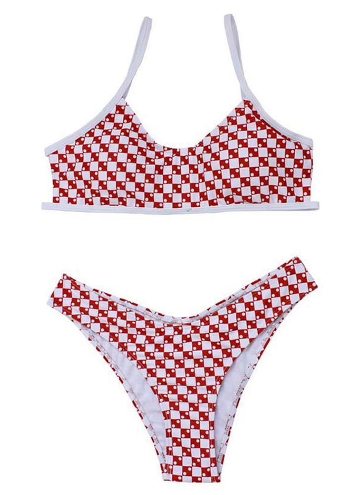 Bikini a vita bassa imbottita con stampa floreale scozzese a righe