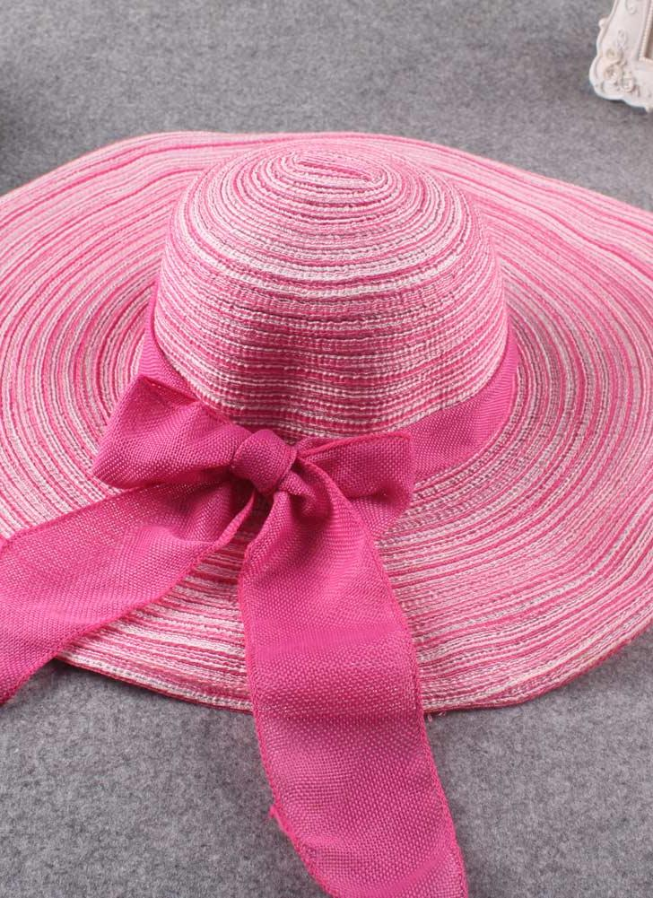 Summer Fashion Sun Beach Wide Brim Bow Ornament Foldable Floppy Hat