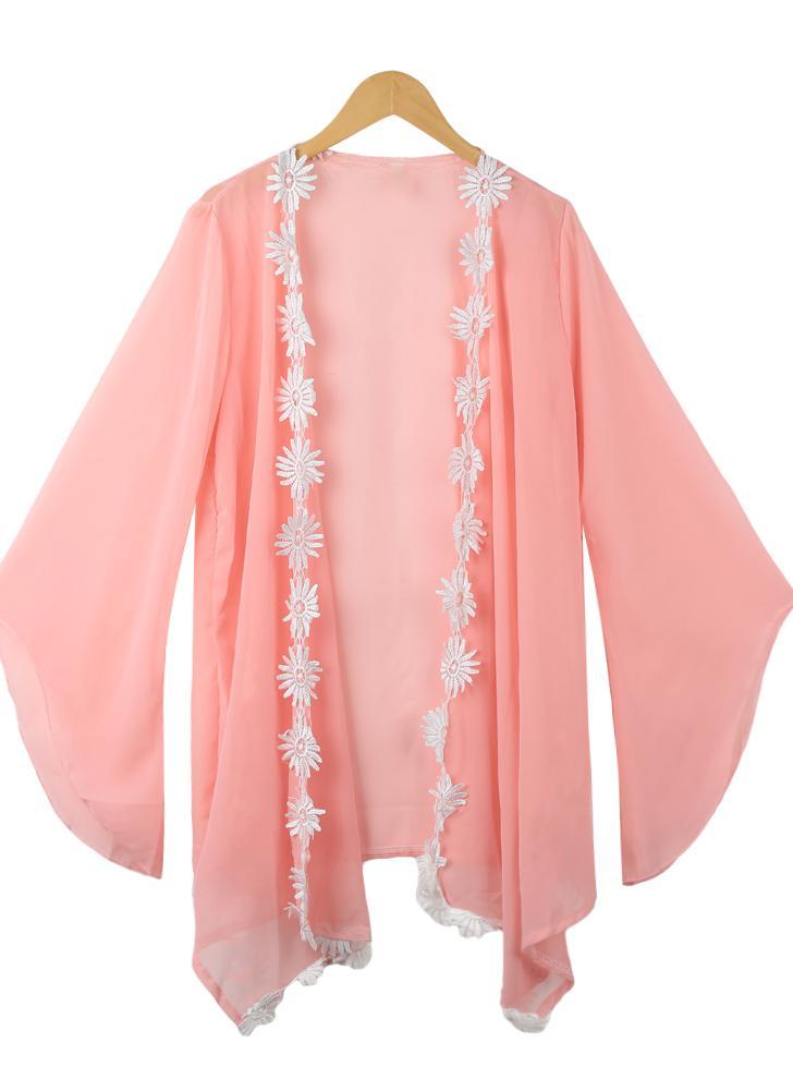 Sweet Floral Embroidery Batwing Sleeve Asymmetric Sheer Pink Chiffon Kimono