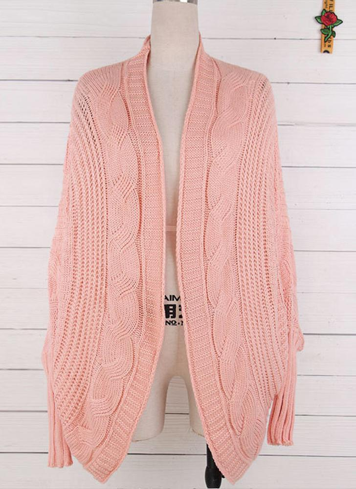 Women Casual Solid Open Front Knitting Sweater Loose Cardigan