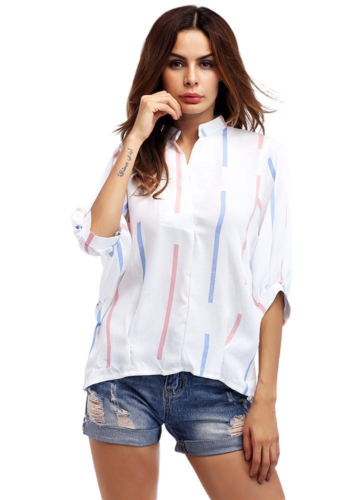 Camicetta delle donne del collo del collo di V-collo della camicia di modo  della a413d2ada88