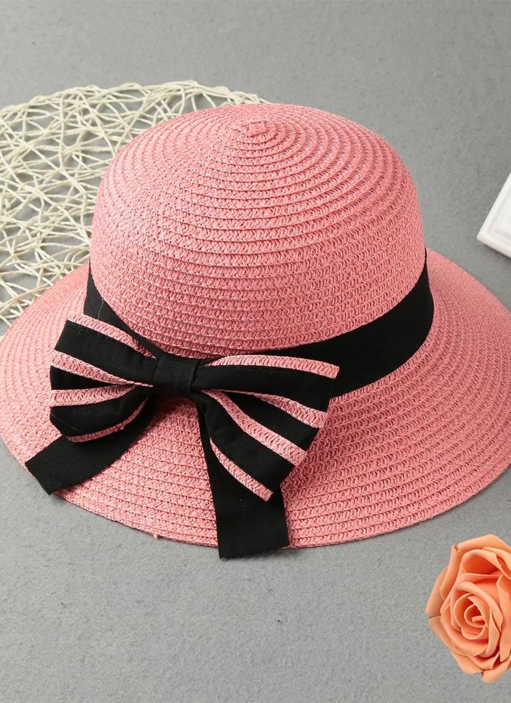 a18380ef4b88 rose Summer Bow Wide Brim Solid Color Women's Sun Straw Hat - Chicuu