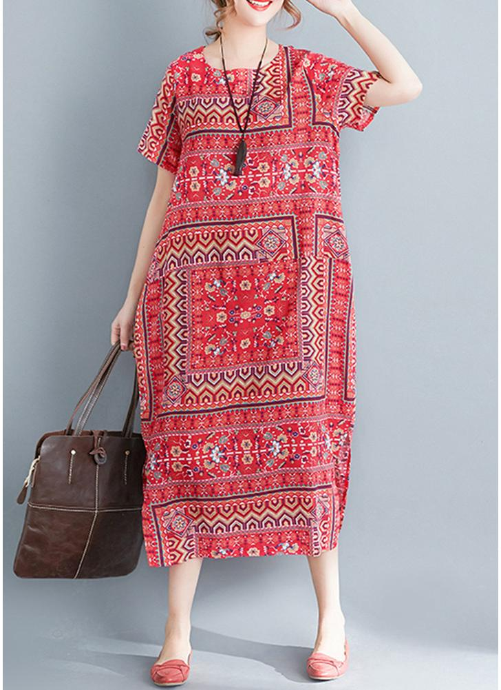 rot einheitsgröße Frauen drucken lose Maxi Kleid Seitentasche ...