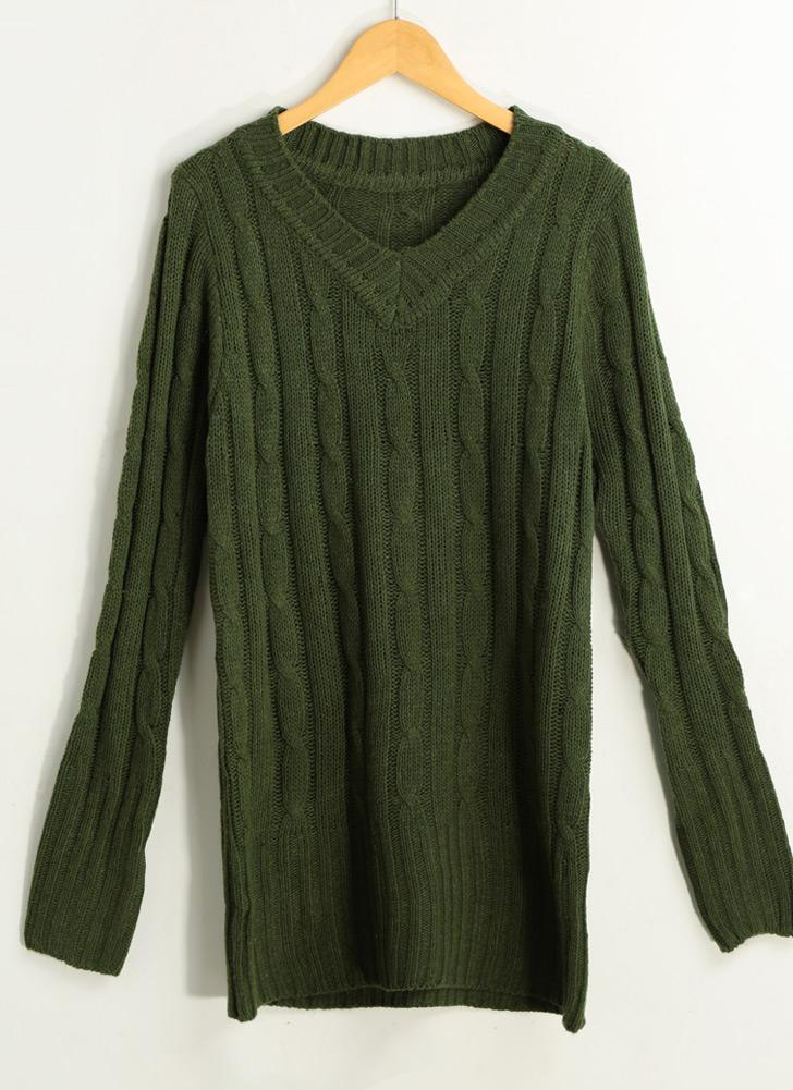 Solid Ribbed V Neck Long Sleeve Casual Sweater