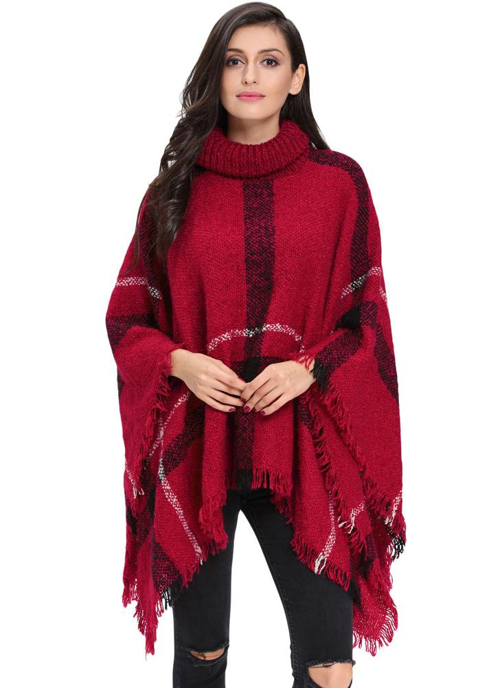 2f40d04b8719 Manteau d hiver Nouveau Femmes Poncho Cape Stripe Tassel Turtleneck chaud Châle  Pull Cape Sweater