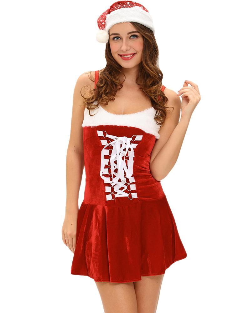 Fantasy Dress prestazioni delle donne velluto Nuovo vestito sexy della  cinghia di spaghetti Backless Mini Natale ff6e087b260