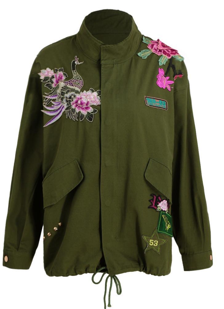 Arbeiten Applikationen Stehkragen Grün Lose Mantel Frauen Rivet Sie Vogel Aufnäher Blumen Jacke Stickerei Oberbekleidung Armee 3d kXiOZPTwul