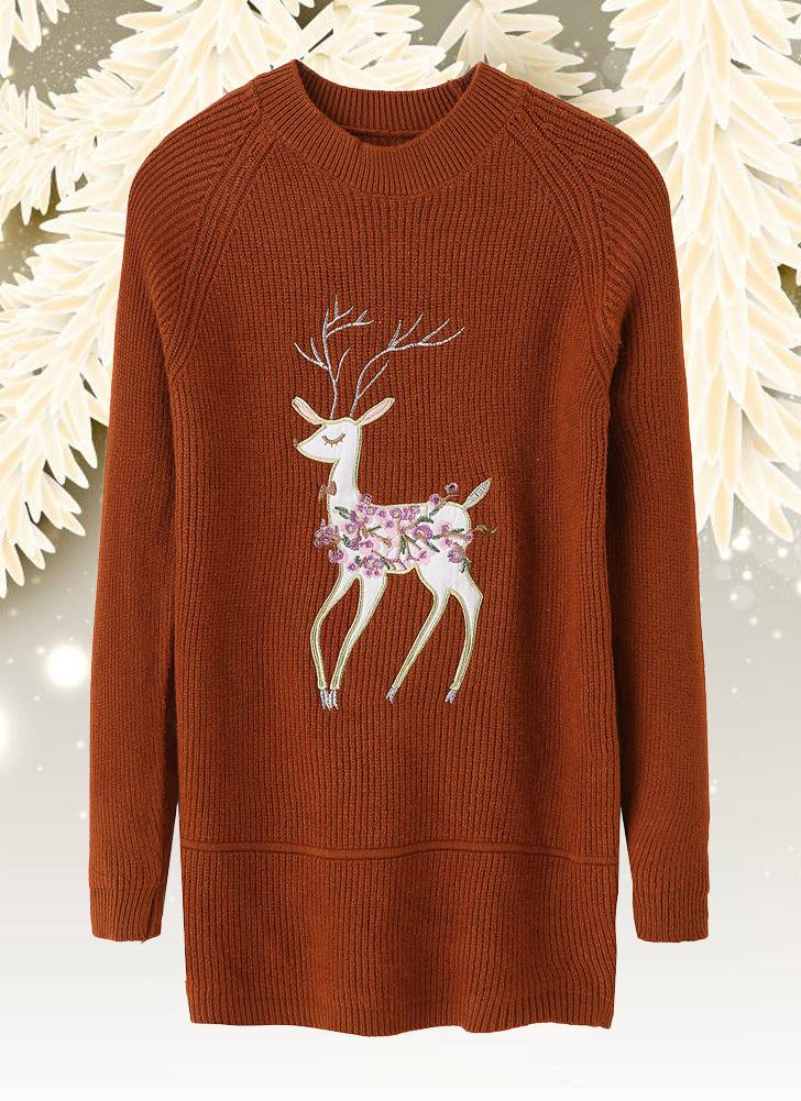 Mulheres de Natal Tricotado Pullovers manga comprida Camisola bordada de rena