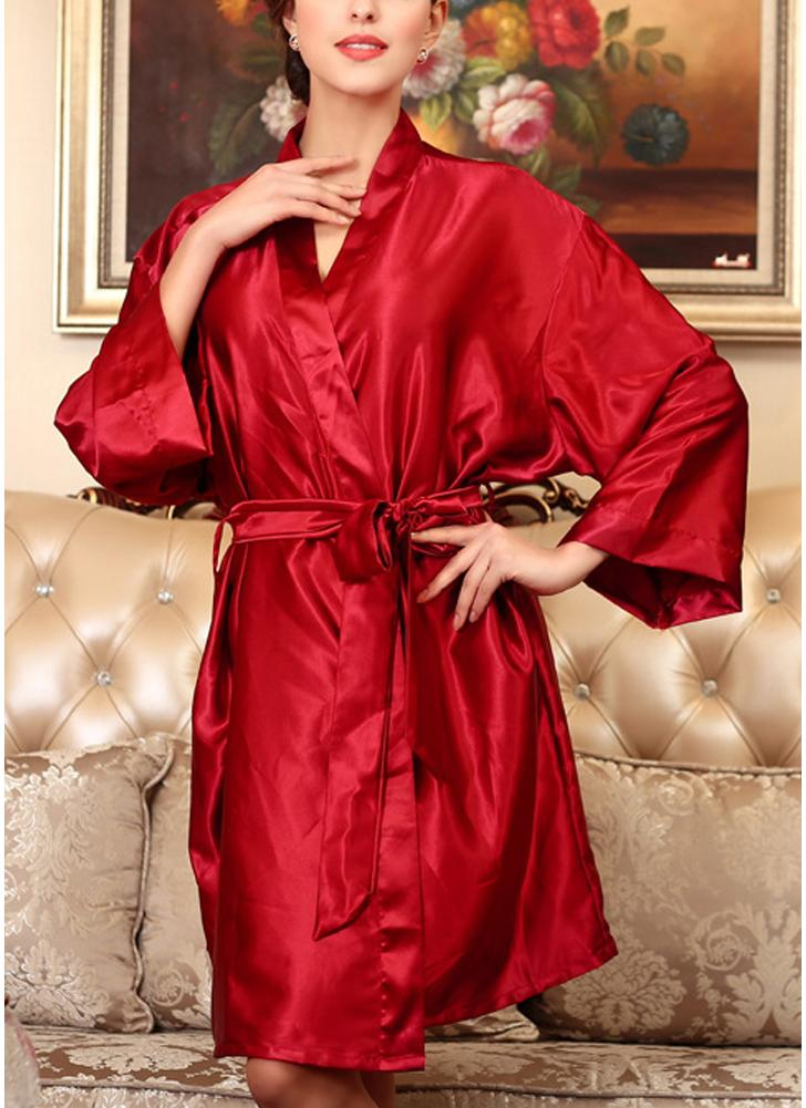 red one size Women Silk Satin Night Robe Bathrobe Short Kimono ...