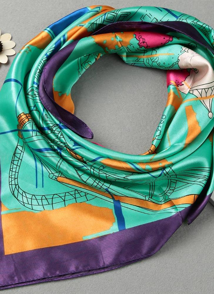 Nova Moda Mulheres Scarf Praça do Parque de Diversões impressão Headband Kerchief Chic Xaile de Pashmina