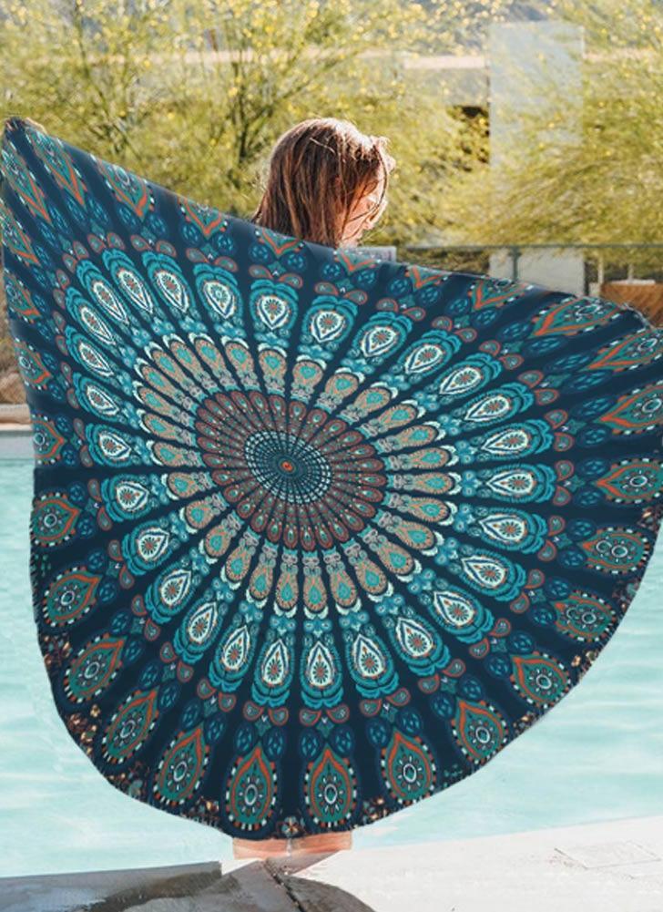 Frauen Runde Badetuch Bohemian Printed Tapestry Throw