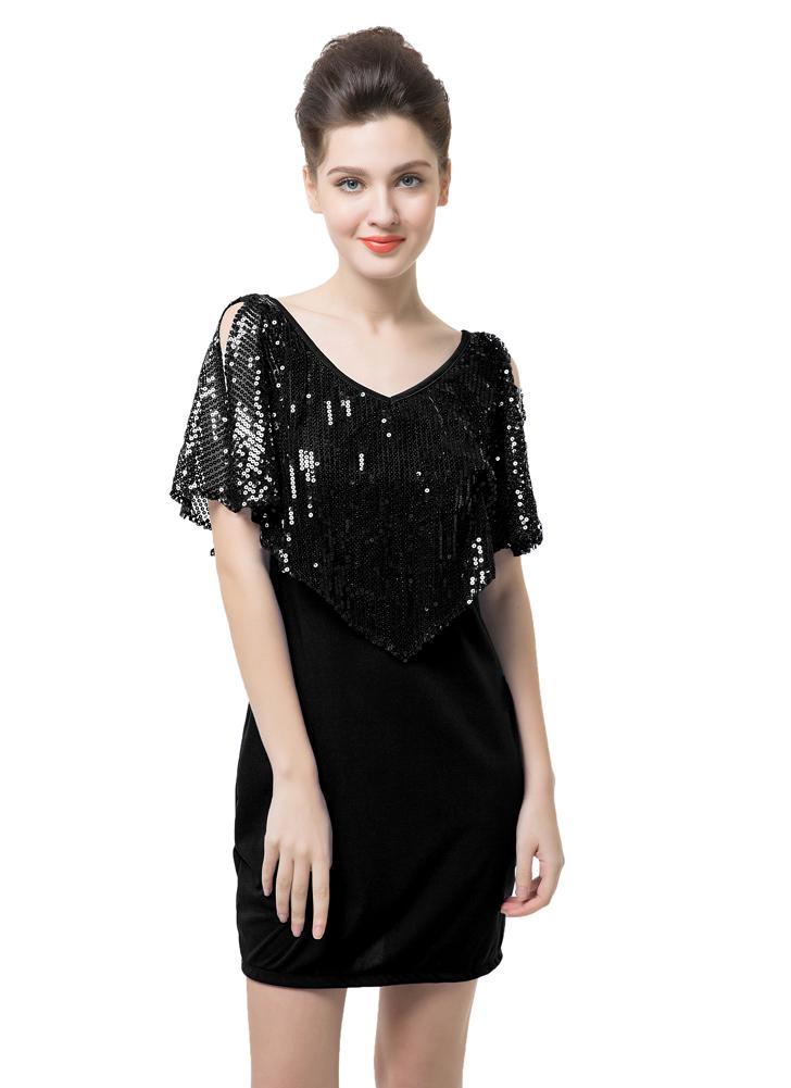 d24f1d6272 Bling Sequin Splicing V-Neck Short Sleeve Shoulder Split Dress