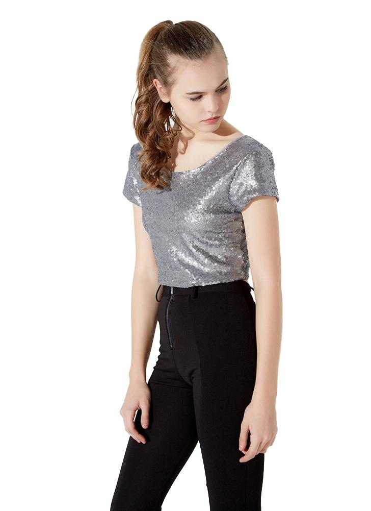b3bc8ac214ebfb silver xl Sexy Sequined Backless Round Neck Short Sleeve Crop Top - Chicuu