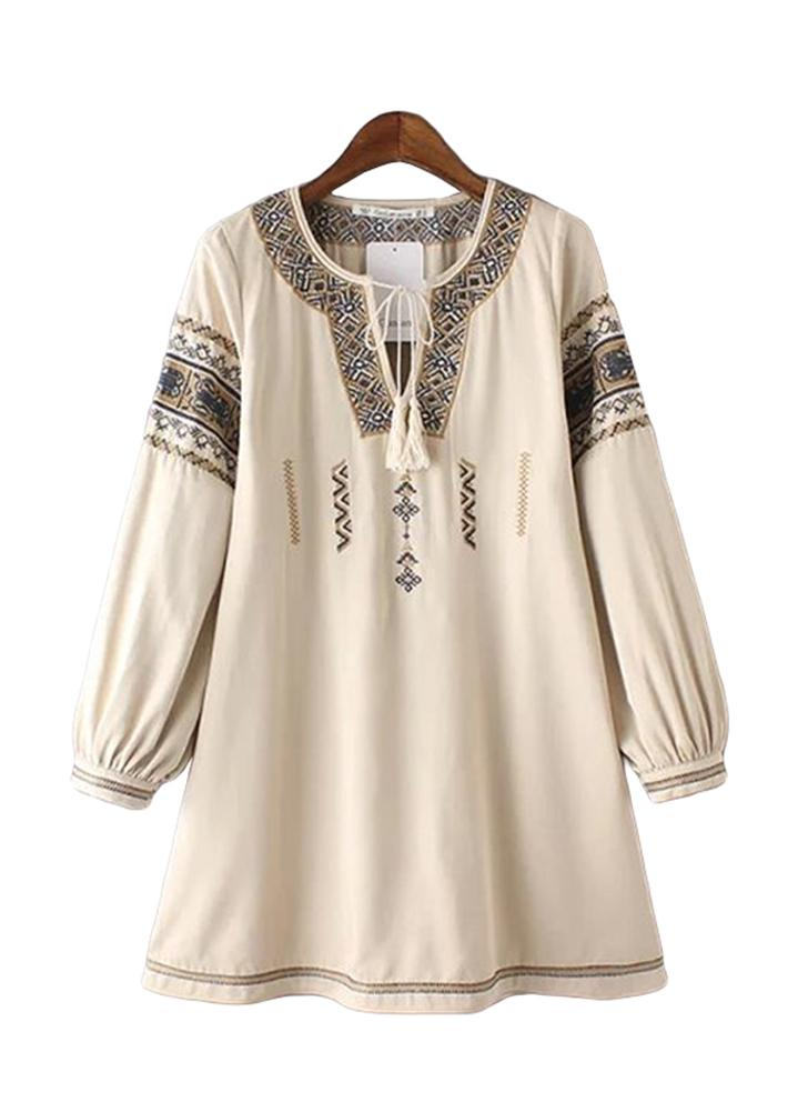 Les femmes Vintage robe ethnique broderie géométrique Tie cou lanterne manchon Bohème lâche Casual Beach robe blanc/Beige