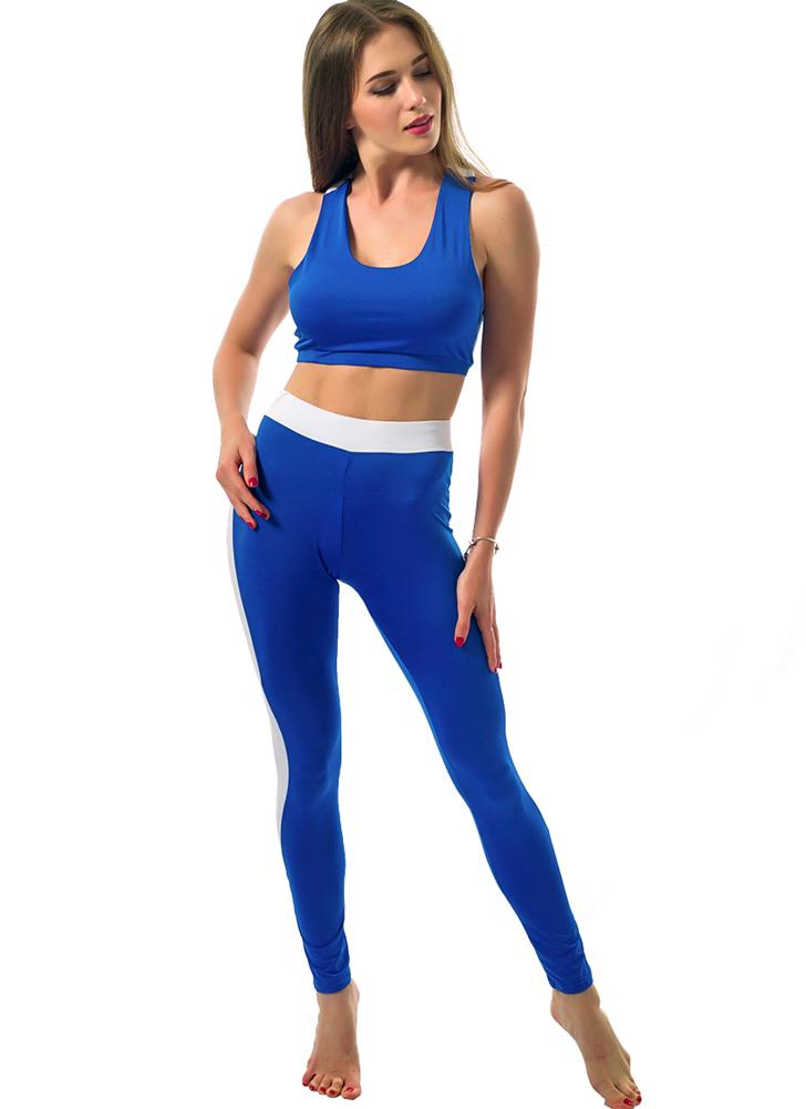 Fashion Contrast Round Neck Racerback Crop Top With Pants SportsTwinset