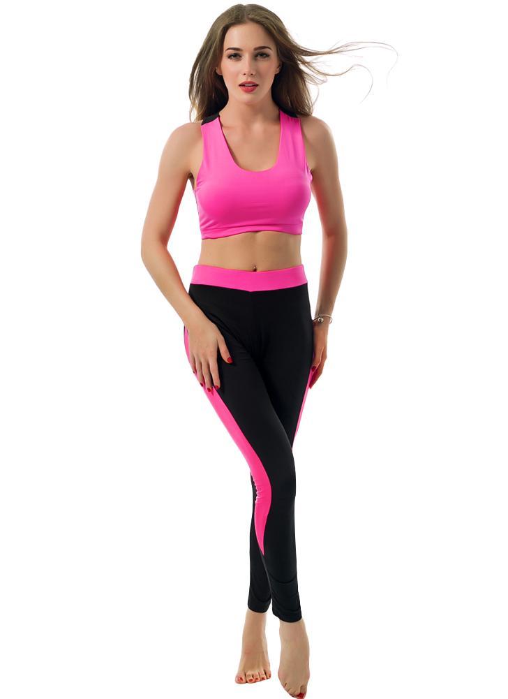 Mode féminine Deux-pièces évider Racerback O-cou élastique de taille recadrée Top Slim Pantalon Vert / Rose / Rouge