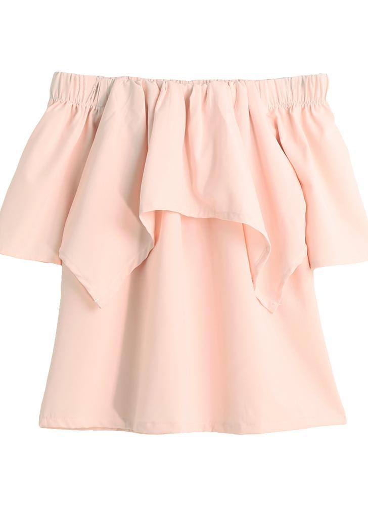 Las nuevas mujeres de la manera tapas del hombro de la colmena elástico Cuello con gradas Frente manga Divide blusa rosa ocasional