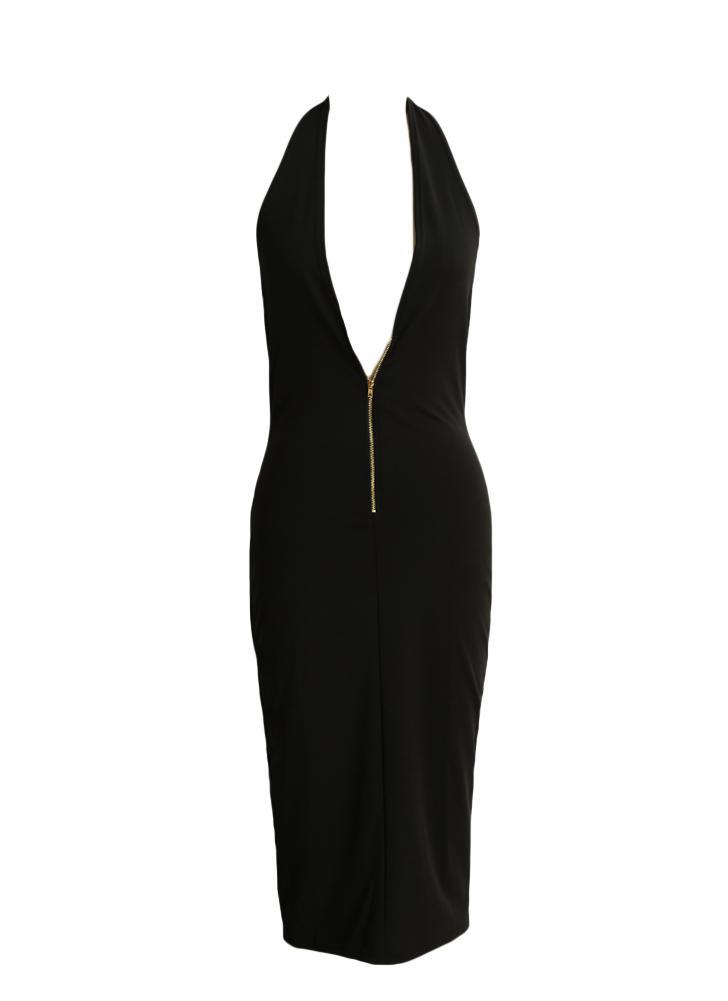 Femmes Sexy Robe moulante avant Zipper col V profond Backless Clubwear Club Party Black Dress