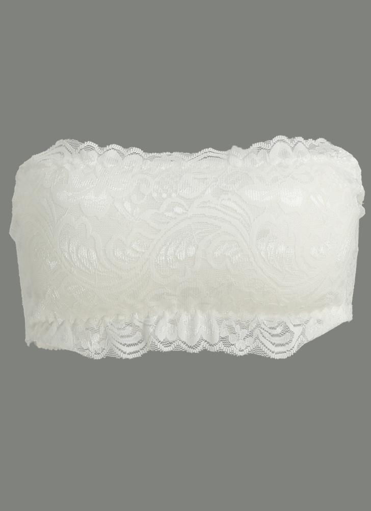 Frauen-Spitze-BH ohne Bügel-Verband-Padded Strapless verstellbare Rücken dünne Breathable Bra Crop Top Brassiere Unterwäsche Schwarz / Weiß