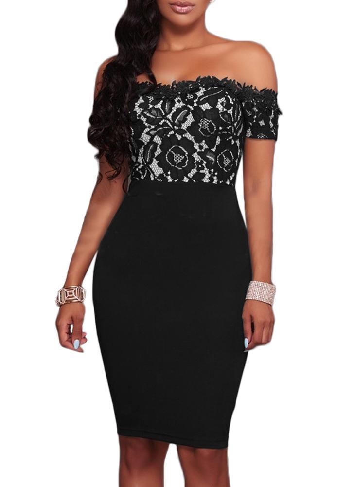 Mulheres Bodycon Floral Lace Dress