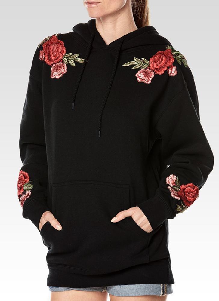 Las mujeres sueltan bordados florales mangas largas bolsillos sudadera