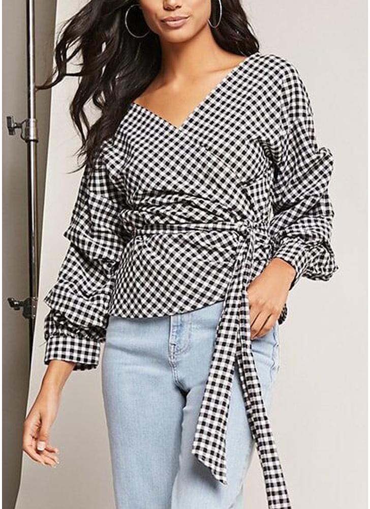 Blusa con manga de soplo de cuadros de mujer