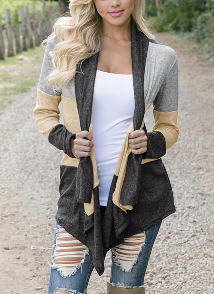 Женская повседневная открытая передняя ткань для сращивания с драпировкой Воротник Bertha Loose Long Cardigan Coat