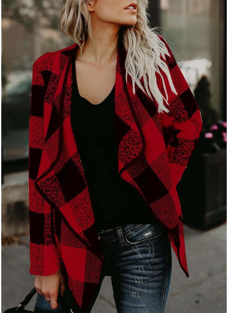 Giacca da donna casual con maniche lunghe in tessuto scozzese 4b2c1b7f610