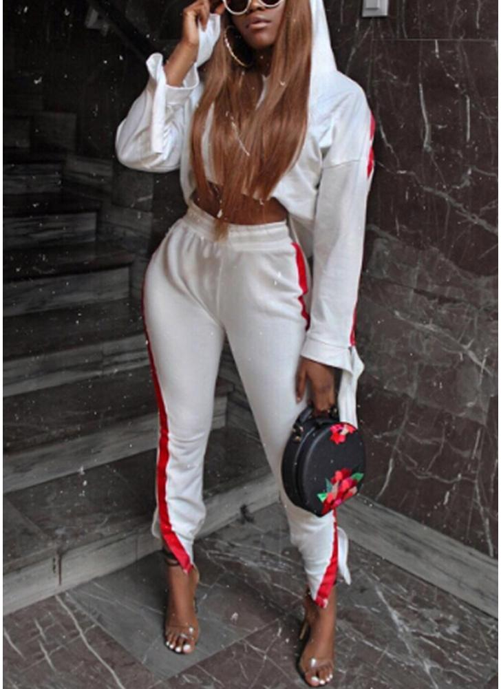 Mode Femmes Deux pièces Ensemble rayé à capuche Cordon long Pantalon à manches longues Hoodies Sportswear