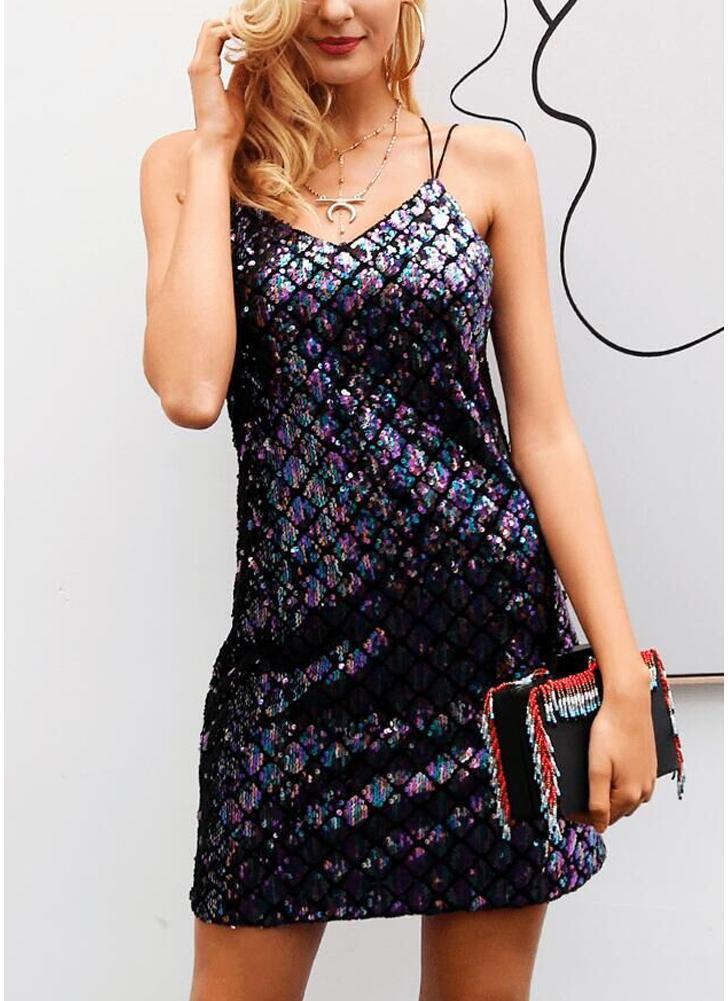 Женщины с блестками без рукавов Платье спагетти ремень V Шея Backless Cami Mini Club Party Slip Dress Vestidos