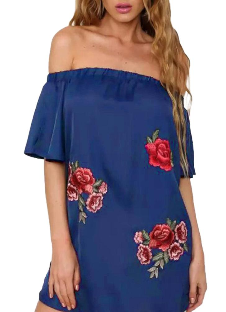 blau s Mode Frauen Beleg-Kleid weg von der Schulter-Boot-Ausschnitt ...