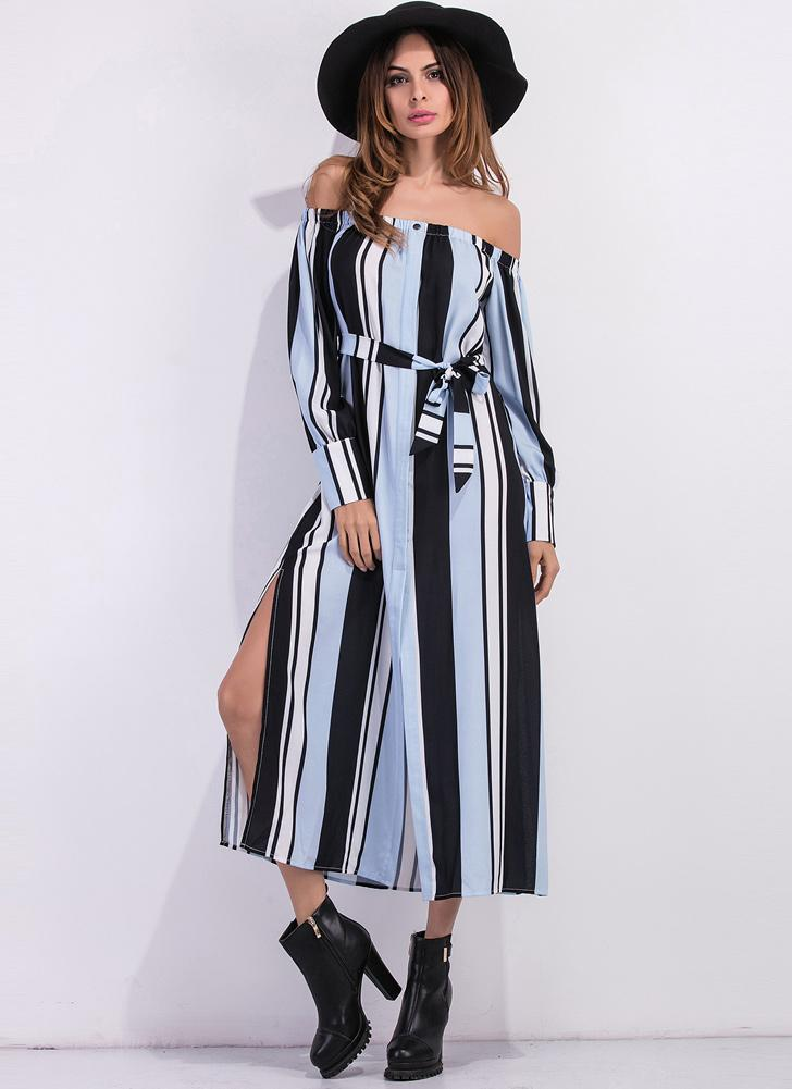 blau s Frauen Striped Maxi Hemdkleid weg von der Schulter hoch ...