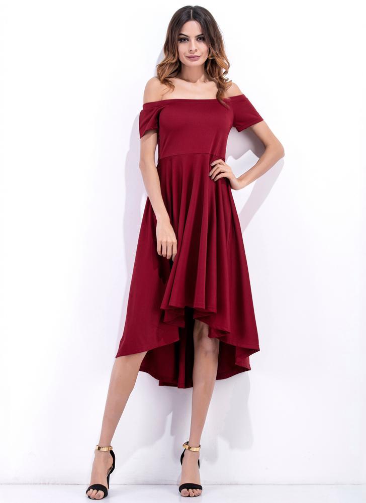 Женщины платье Твердая плеча Рассечение шеи Высокая талия Асимметричная Элегантный вечер Party Club One-Piece Burgundy / черный