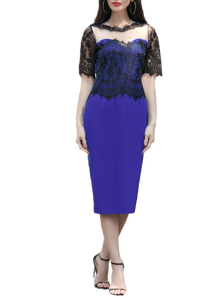 Embroideried ver a través de Vestido a media pierna de cuello redondo mujeres de encaje