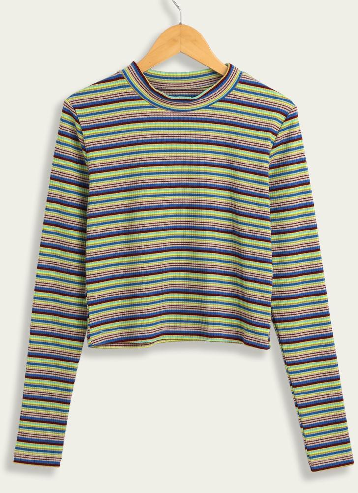 Maglioncino pullover a righe lavorato a maglia casual da donna 98b0efe8c20