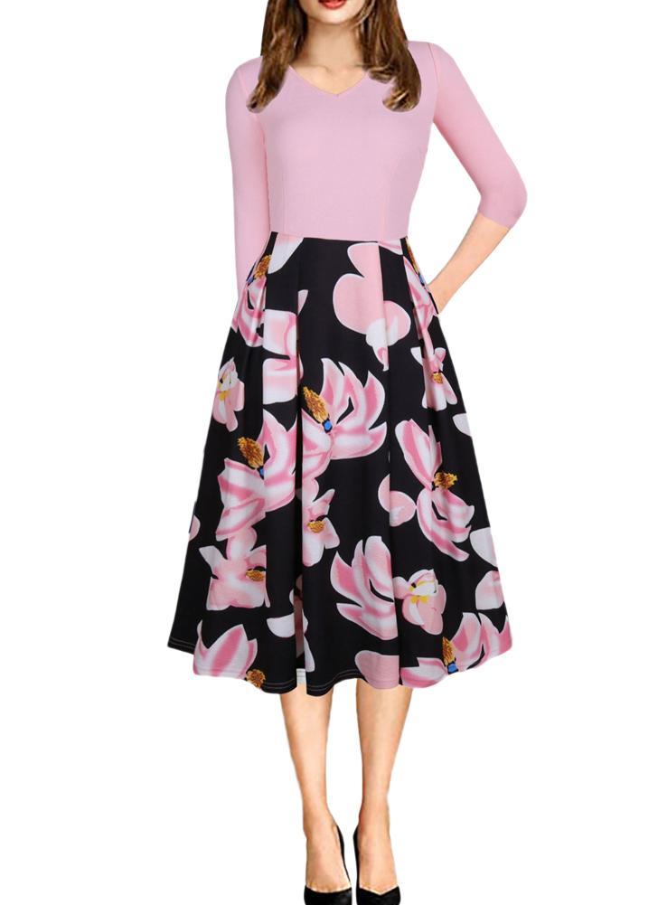Frauen Vintage V-Ausschnitt Blumendruck Swing-Kleid