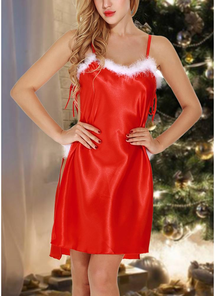 Sexy Women Santa Christmas Fur Trim Satin Открытые боковые спагетти с ремнями G-string Lingerie Dress