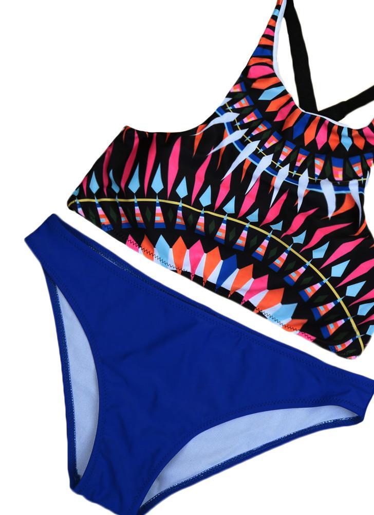 Donne Sexy Bikini Set stampa geometrica Push Up Top Low Waist fondo spiaggia costumi da bagno costume da bagno tuta blu