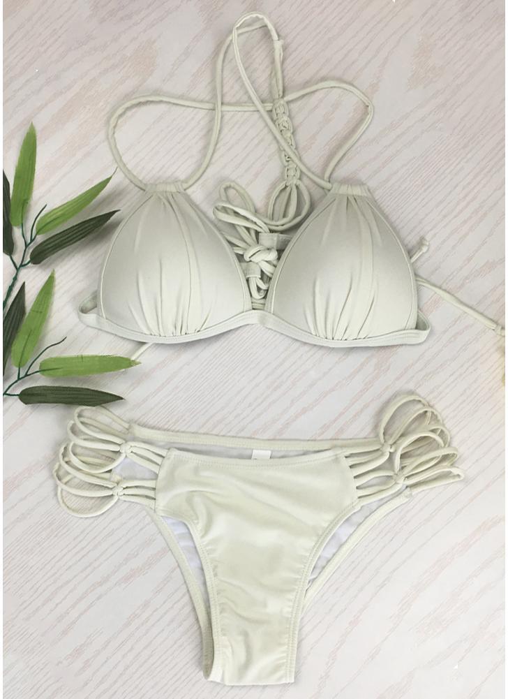 Bikini Solid Triangle Lace Up Set da donna