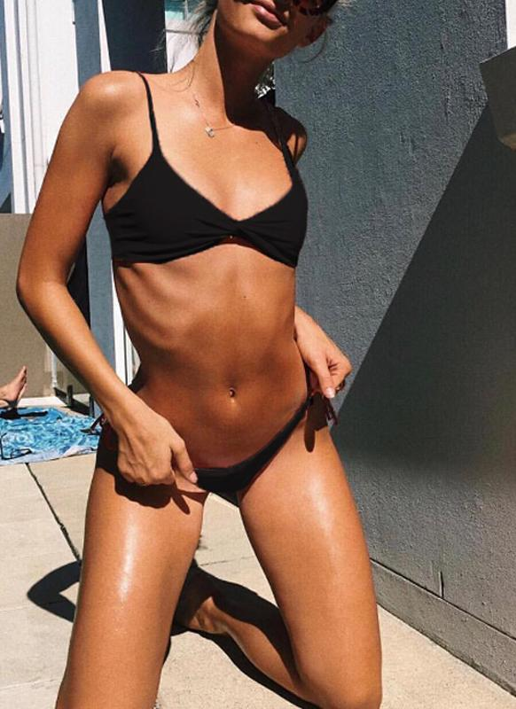 Sexy Women Solid Rughed Bandage Strappy Two-Piece Bikini Set
