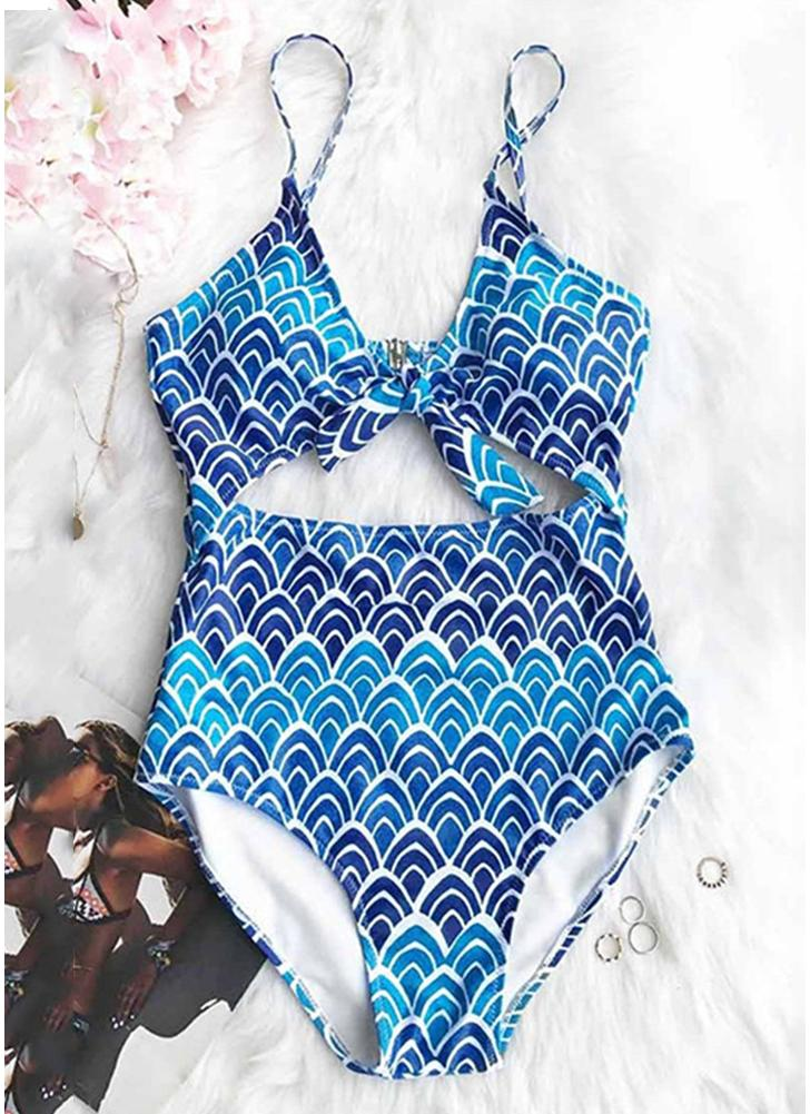 Wave Ripple Print Tie Cut Out - Maillot de bain une pièce à capuche Push Up