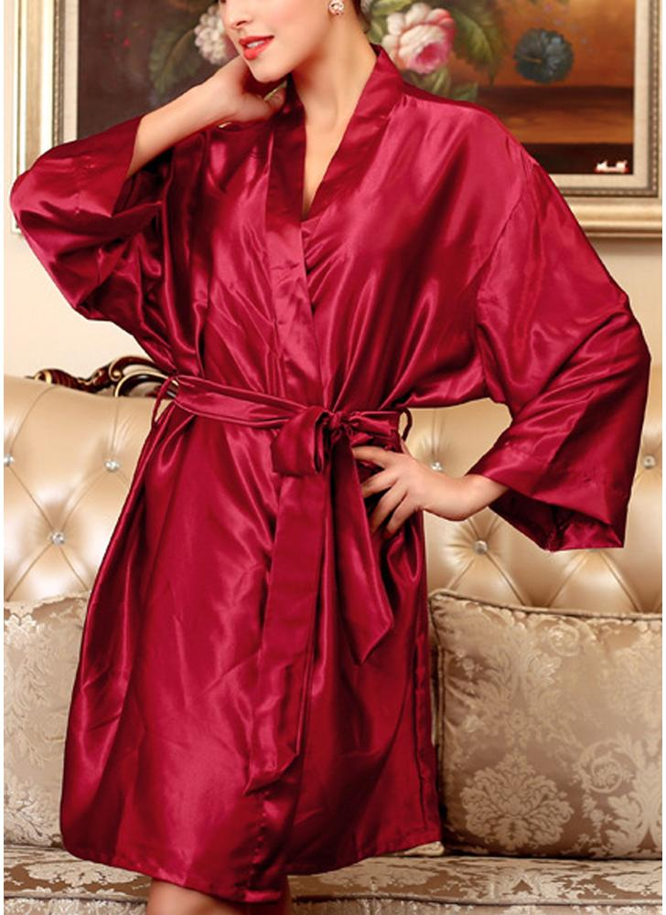 burgundy one size Women Silk Satin Night Robe Bathrobe Short Kimono ...